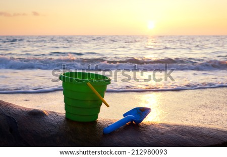 Family rest in the summer at sea coast - stock photo