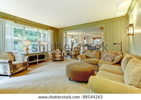 Family room in the luxury home - stock photo