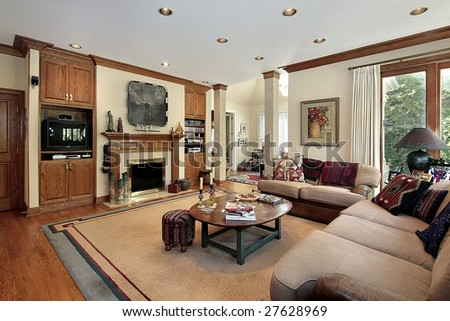 Family room with fireplace - stock photo