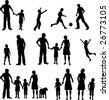 Family silhouettes Bitmap - stock photo