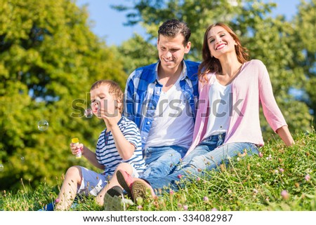 Family sitting on meadow playing with soap bubbles - stock photo