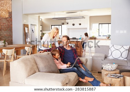 Family spending time together at home - stock photo