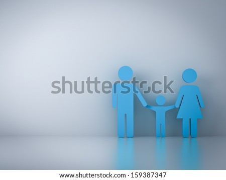 Family symbol with empty white wall background and reflection - stock photo