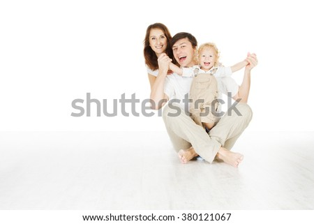 Family Three Persons, Father Mother and Baby Kid Sitting on Floor over White  - stock photo