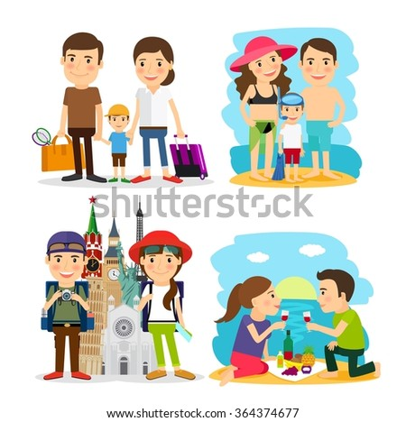 Family travel people - stock photo