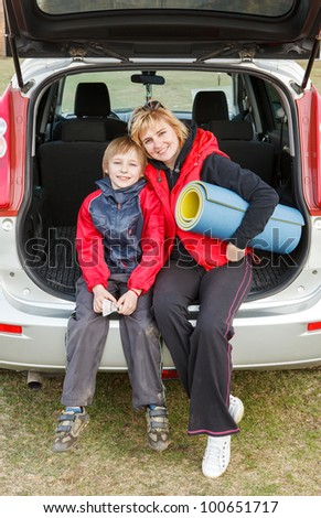 Family trip on the car on nature - stock photo
