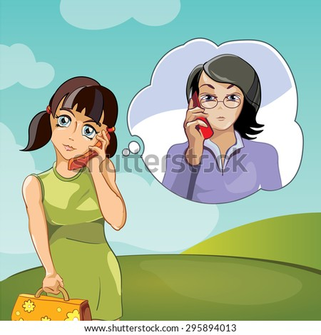 Family, two women , mother and daughter talking on phone. - stock photo