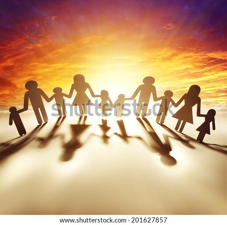 Family united together holding hands - stock photo