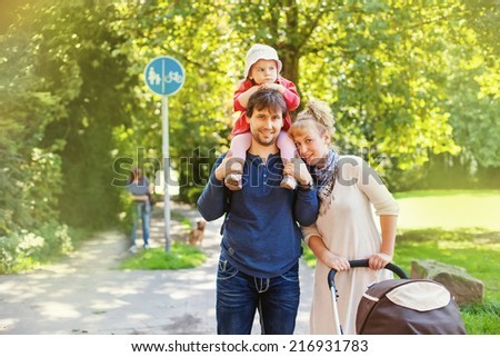 family using a footpath - stock photo