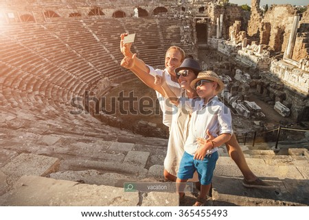 Family vacation selfie photo in antique amphitheater in Side,Turkey - stock photo