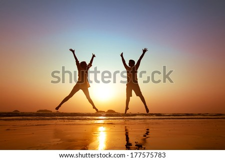 family vacations on  the beach - stock photo
