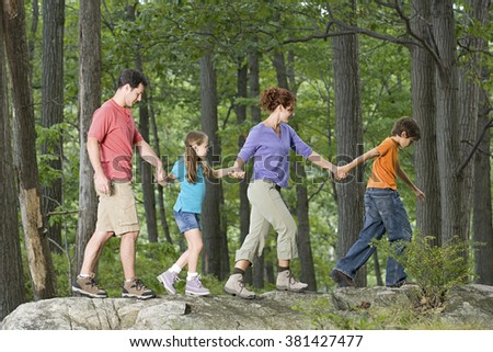 Family walking hand in hand - stock photo