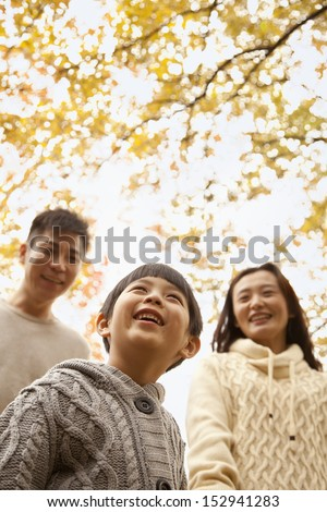 Family walking through the park in the autumn, low angle view - stock photo