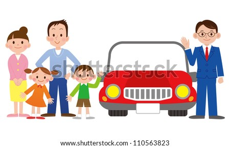 Family with a car salesman at the dealer - stock photo
