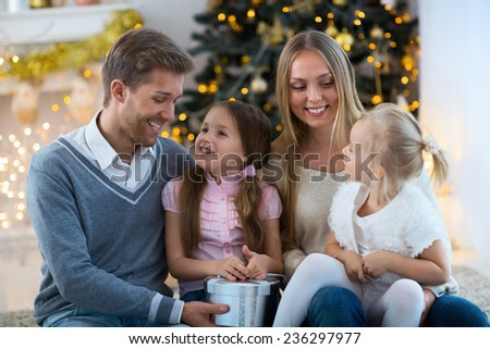 Family with children at home - stock photo