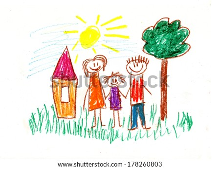 Family with children. Kids drawings - stock photo