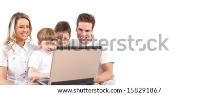 Family with laptop. Computer technology background concept. - stock photo