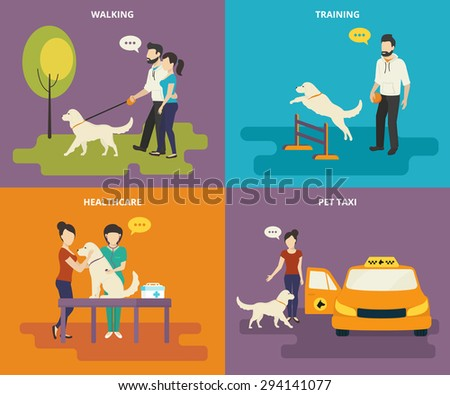 Family with pet concept flat icons set of walking in the park, passing medical exam, pet training and taxi - stock photo