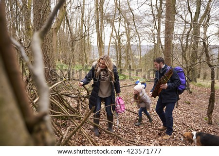 Family with pet dog collecting fallen wood in a wood - stock photo