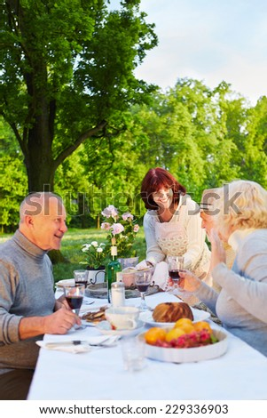 Family with senior people celebrating birthday in a garden - stock photo
