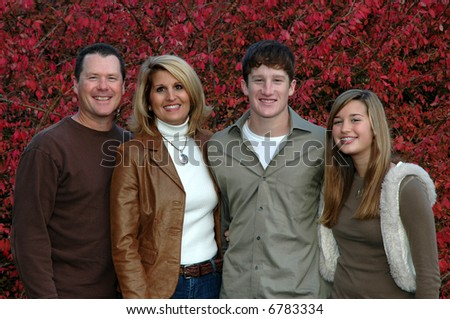 family with teenage children - stock photo