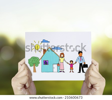 family with the protection of cupped hands, concept for security and care - stock photo