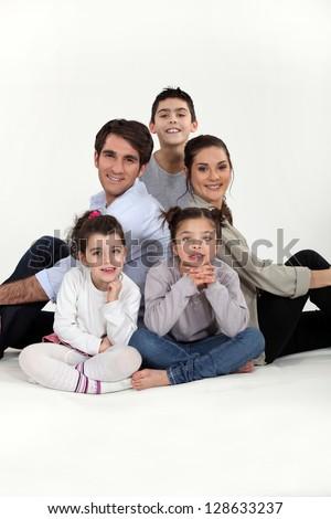 Family with three children - stock photo