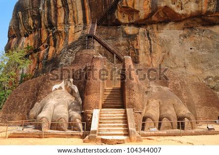Famous ancient Sigiriya rock. Sri Lanka. MANY MORE PHOTOS FROM SRI LANKA IN MY PORTFOLIO. - stock photo