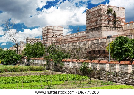 Famous ancient walls of Constantinople in Istanbul, Turkey - stock photo