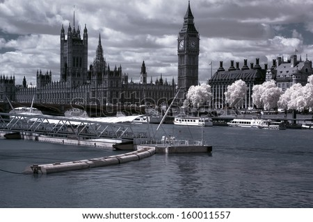 Famous and Beautiful view to Big Ben and the Houses of Parliament in London - stock photo