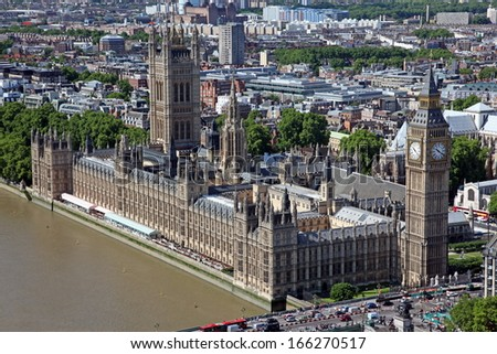 Famous and Beautiful view to Big Ben and the Houses of Parliament in London, UK - stock photo