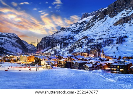 Famous and luxury place of Val d'Isere at sunset, Tarentaise, Alps, France - stock photo