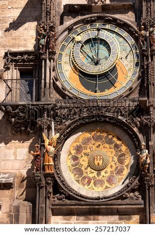 Famous astronomical clock in Old Town Square, Prague, Czech Republic - stock photo