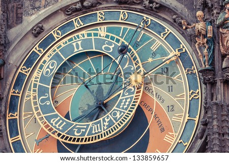 Famous Astronomical Clock in Prague - stock photo