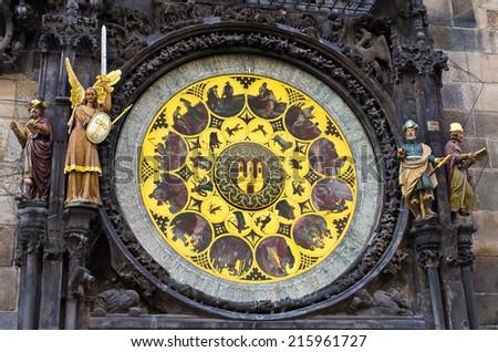 Famous astronomical clock in Prague - Czech Republic - stock photo