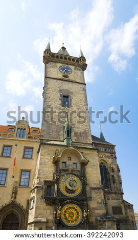 Famous Astronomical Clock in the Prague old Town Hall, Czech republic. - stock photo