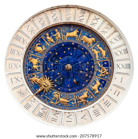 Famous Astronomical Clock the Torre del' Orologio, St. Mark's square in Venice - Italy, isolated on white - stock photo