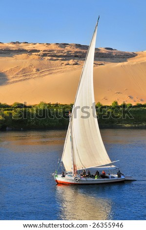 Famous Aswan sail boat (Egypt tourism) - stock photo