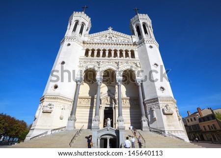 Famous Basilica of Notre-Dame de Fourviere in Lyon, France - stock photo