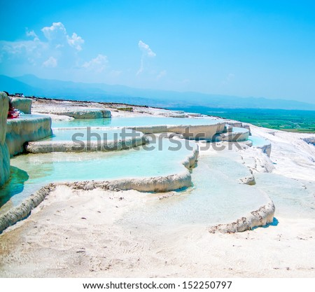 Famous beautiful travertine pools and terraces in Pamukkale Turkey - stock photo