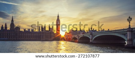Famous Big Ben clock tower in London at sunset, panoramic view, UK. - stock photo