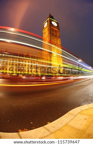 Famous Big Ben in the evening with traffic, London, England - stock photo