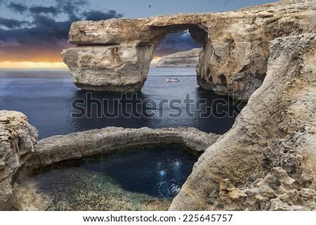 Famous blue gate in Malta, near the sea. - stock photo