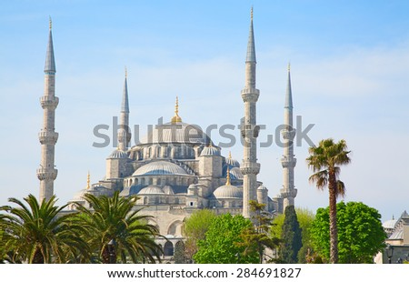 """Famous """"Blue mosque"""" in Istanbul, Turkey - stock photo"""