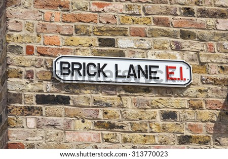 Famous Brick Lane street sign, London, England - stock photo