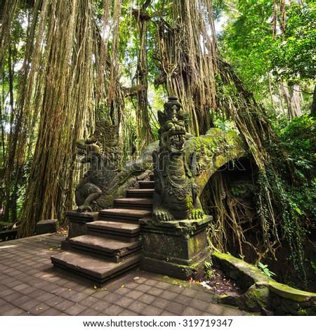 Famous bridge in the Monkey Forest Sanctuary in Ubud, Bali, Indonesia.  - stock photo