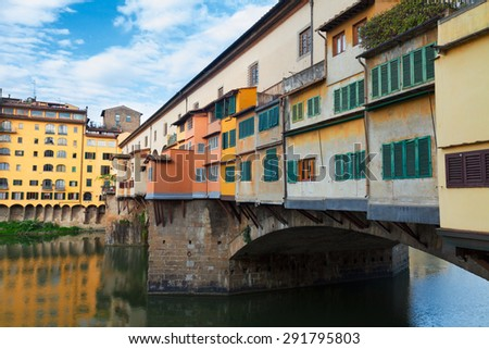 famous bridge Ponte Vecchio close up, Florence, Italy - stock photo
