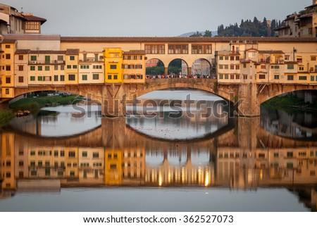 Famous bridge Ponte Vecchio in Florence, Tuscany, Italy - stock photo