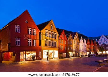Famous Bryggen street in Bergen Norway - architecture background - stock photo