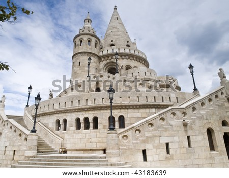 Famous building in Budapest (Hungary) called the Fishermen's Bastion - stock photo